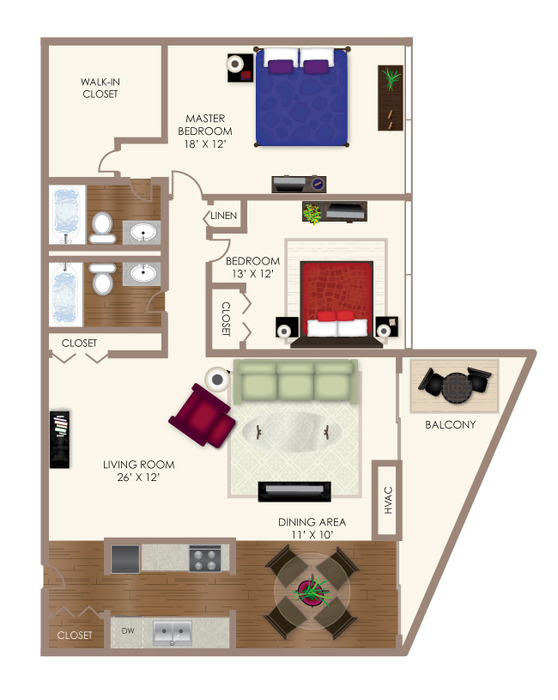 The Highland (River view) Floor Plan Image